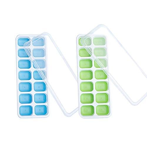 Bandeja de cubitos de hielo de silicona, 2 moldes flexibles de 1 cubo de hielo con tapa extraíble no derrames, cubos de hielo de fácil liberación para whisky y cócteles