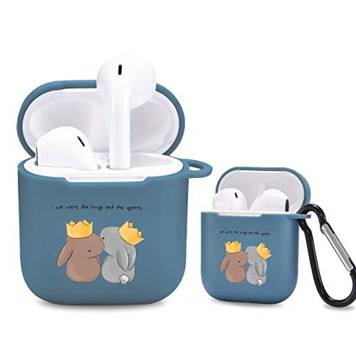 Idocolors Süße Hülle Kompatibel mit AirPods 1 und 2 Cute Hülle Cover TPU Weich - [Unterstützt kabelloses Laden] [Stoßfeste Schutzhülle] [Ideal Passt] (Hase/Blau)