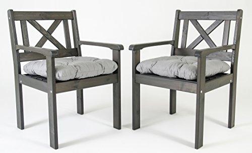 Ambientehome Garten Sessel Stuhl Massivholz inkl. Kissen EVJE, Taupegrau, 2-teiliges Set