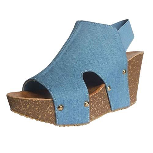 serliy😛Damen Sommer Sandalen Sommerschuhe mit Keilabsatz Offene Plateau Wedge Schuhe Pantoffel Peep Toe Knöchel Schnalle Strandschuhe