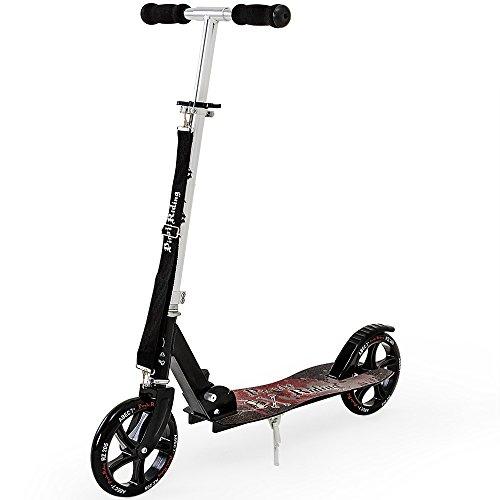 Deuba Profi Scooter inkl. Tragegurt Roller ABEC7 205mm klappbar Tretroller Kinderroller Extreme Pirate Riding