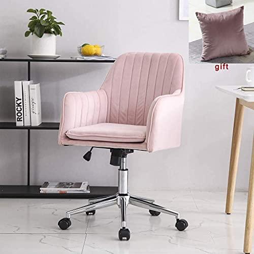 NZKW Silla de Oficina Moderna Sillón de Oficina Sala de Estar Dormitorio Silla Decorativa Ergonomía con Ruedas Elevador Giratorio Ajustable (Rosa)