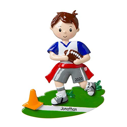 Personalized Flag Football Christmas Tree Ornament 2020 - Brunette School Run Grass Training Score Defense Belt Team Hobby Goal Middle Star Coach De-Flag Pre-Teen Grand-Son Year - Free Customization