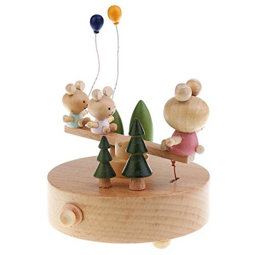 MagiDeal Boîte à Musique en Bois Artisanat Jouet d'Eveil Idéal Cadeau de Noël Anniversaire pour Enfant Bébé - Bear Seesaw, 11x15cm