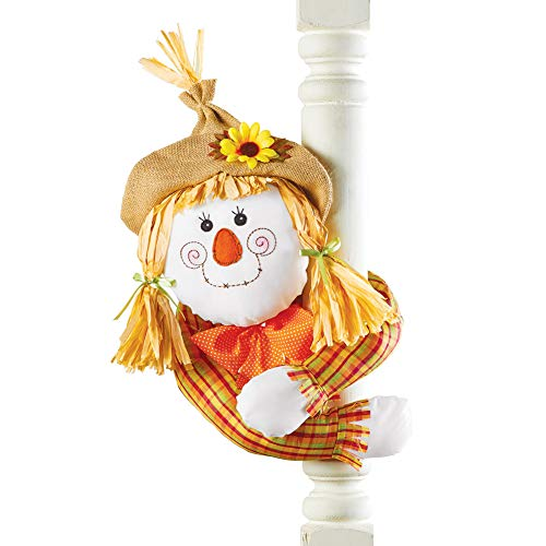 Collections Etc. Cute Harvest Scarecrow Decoration, Posable Scarecrow with Straw Hat and Hugger Arms, Girl