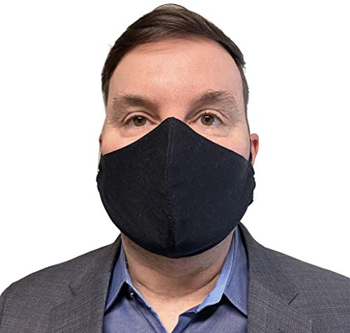 USA Safety Face Mask Adult Face Mask, Double Layers 100% Cotton Face Cover, Filter Pocket & Nose Strip, Reusable & Washable - Made in USA (Adult, Black)