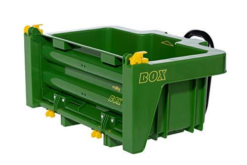 Rolly Toys rollyBox John Deere Traktoranhänger (Kippfunktion, Farbe grün, für Kinder von 3-10 Jahre, für Trettraktor) 408931