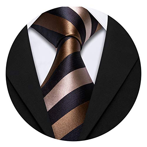 Barry.Wang Brown Stripe Ties with Handkerchief Cufflinks Tie Set