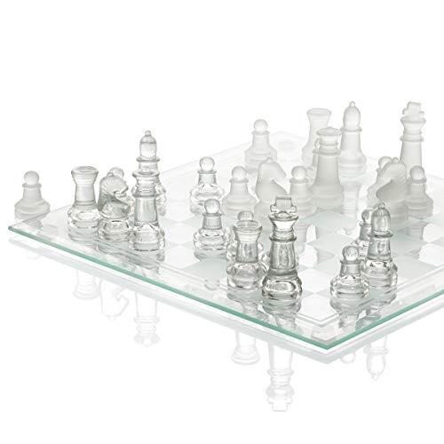 """SRENTA 10"""" Fine Glass Chess Game Set, Solid Glass Chess Pieces with Padded Bottom, Crystal Chess Board Youth Adults Play Set"""