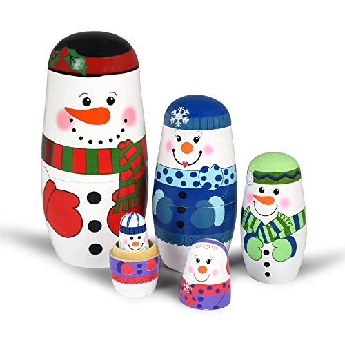 5pcs Nesting Dolls Handmade Wooden Snowman Santa Claus Russian Matryoshka Dolls Christmas Birthday Gift for Kids