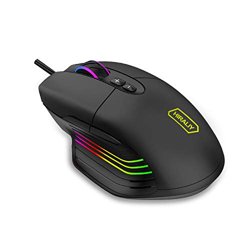 HIRALIY Gaming Mouse Wired, 7 Programmable Buttons, 7200 DPI...