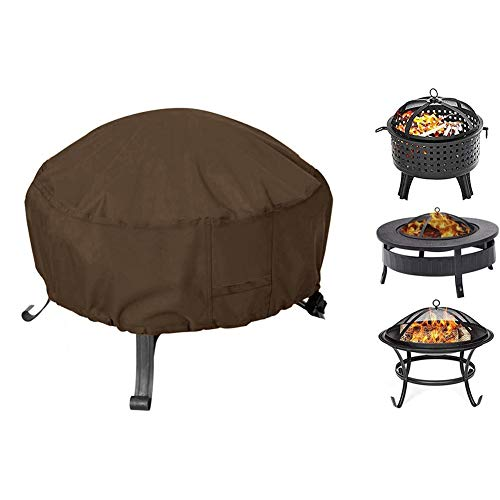Fire Pit Cover Round, Fit for 32-36 Inch Metal Fire Pit, Waterproof Weatherproof UV All-Season Protection with Thick PVC Coating (Color : Brown, Size : S-Diameter82cm/32inch)