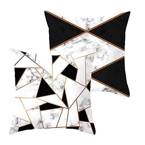 Fundas de Cojines Funda de Almohada Juego de 2 Figura geométrica en Blanco y Negro Terciopelo Cojines Decor con Cremallera Invisible para Sofá Decor Hogar Funda de Cojín G4554 Pillowcase_45x45cm