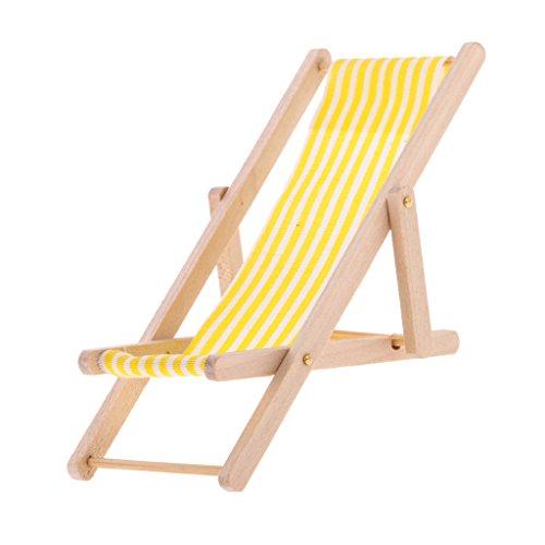 FLAMEER Mini Faltbarer Liegestuhl Gartenliege Klappstuhl Möbel aus Holz Für 1/12 Puppenhaus Garten Dekoration