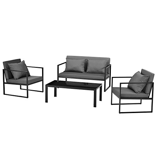 casa.pro] Salon de Jardin Ensemble de Jardin Table Basse avec Canapé et Chaises Extérieures Métal Verre Polyester Noir