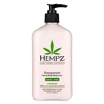 Hempz Pomegranate Herbal Body Moisturizer 17 oz - Paraben-Free Lotion and Moisturizing Cream for All Skin Types Anti-Aging Hemp Skin Care Products for Women and Men - Hydrating Gluten-Free Lotions
