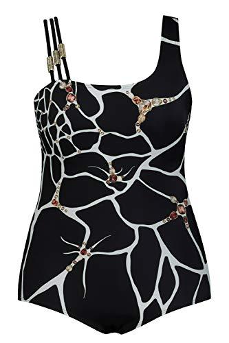 Ulla Popken Femme Grandes Tailles Maillot de Bain, Bonnets Souples, bret. Triple Noir 60 747867 90-58