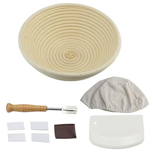 Cabilock 1 Set Bread Baking Tools Kit Bread Fermentation Basket Cutter Scraper Cloth for Home Kitchen Bakery