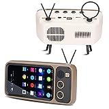 Retro Altoparlante Bluetooth,Portatile Speaker Stereo a Forma di TV,Mobile Phone Holder Altoparlante Supporto per telefoni cellulari sotto i 6 Pollici (grigio)