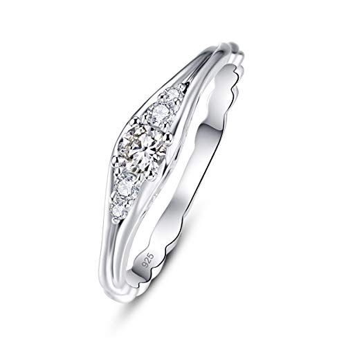 Narica Women's Charming White Topaz CZ Plated Sterling Silver 925 Wedding Ring Size 9
