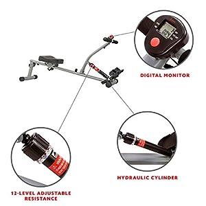 Sunny Health & Fitness SF-RW1205 12 Adjustable Resistance Rowing Machine Rower w/Digital Monitor (Renewed)