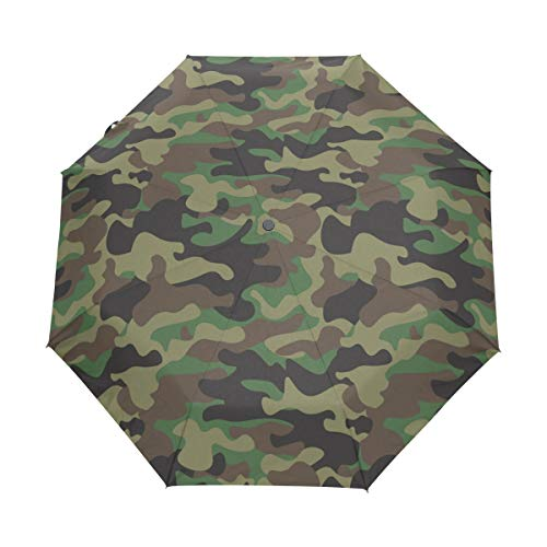 BIGJOKE 3-fach faltbarer Regenschirm mit automatischem Öffnen und Schließen von Wäldern, Camouflage-Muster, winddicht, leicht, kompakt, für Jungen, Mädchen, Männer und Frauen