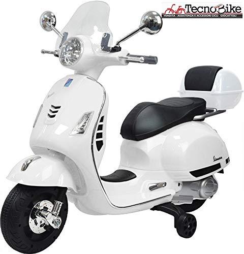Tecnobike Shop Moto Elettrica Piaggio per Bambini Vespa GTS B70592 con Parabrezza e Bauletto Rotelle 12V luci LED Suoni (Bianco)