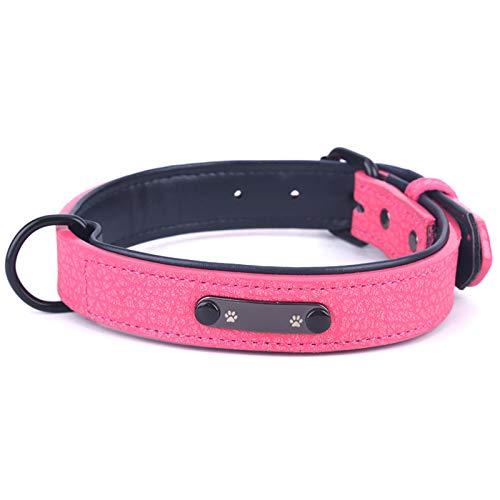 Tianxiangjjeu Collar para mascotas, con etiqueta de identificación de perro, piel sintética, correa de tracción para el cuello del perrito de perro, correa para el cuello, suministros rosa rojo XL