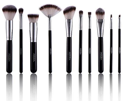 Make-up Pinsel-Set - Puderpinsel, abgewinkelte Kontur, Kabuki, Lidschattenmischung, Foundation-Pinsel & mehr [10 Gesichtsbürsten]
