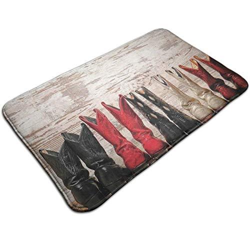 Alfombrilla para puerta de 60 x 40 cm, botas de piel vaquera rústicas con estampado cultural, lavable a máquina, absorbente alfombra para el suelo, alfombras decorativas de baño estampadas