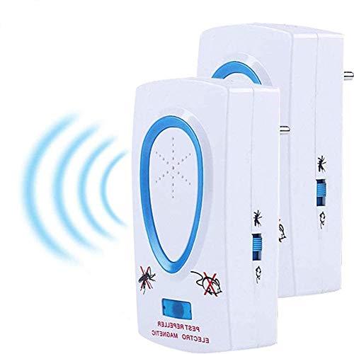 Repelente Ultrasónico, BESTZY 2020 Nuevo Plagas Control Interiores, Insectos Antimosquitos Eléctrico Extra Fuerte para Interiores - Insectos, Hormigas, Ratas, Roedores (2 Pack)