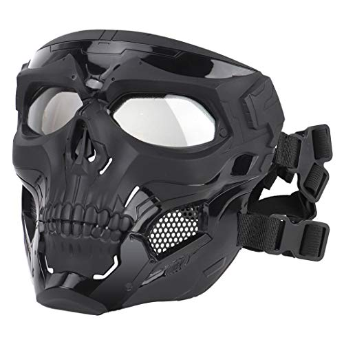 Aoutacc Airsoft Mask Skeleton Skull Mask with Goggles full face Protective Paintball Mask Adjustable Tactical Mask for Halloween Paintball Game Movie Props Party Cosplay Outdoor Activities(Black)