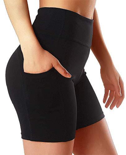 FITTOO Pantalones Cortos Clásico Leggings Mujer Mallas Yoga Alta Cintura Elásticos Transpirables #3 Negro M