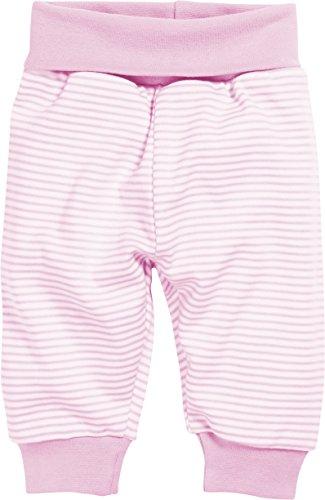 Schnizler Kinder Pump-Hose aus 100% Baumwolle, komfortable und hochwertige Baby-Hose mit elastischem Bauchumschlag, gestreift, Rosa (Weiß/Rose 586), 74