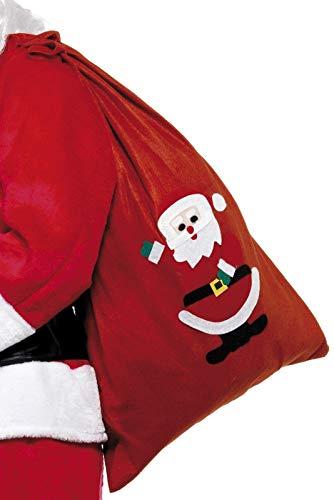 Smiffy's-24497 Saco de Papá Noel, con Motivo y cordón, 35.4 x 23.6, Color Rojo, No es Applicable (24497)