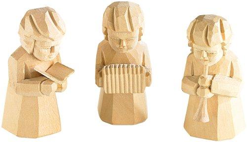 infactory Weihnachtsfiguren klein: Schnitzfiguren-Trio aus Holz Weihnachtsmusikanten (Weihnachtsdeko für Krippe)