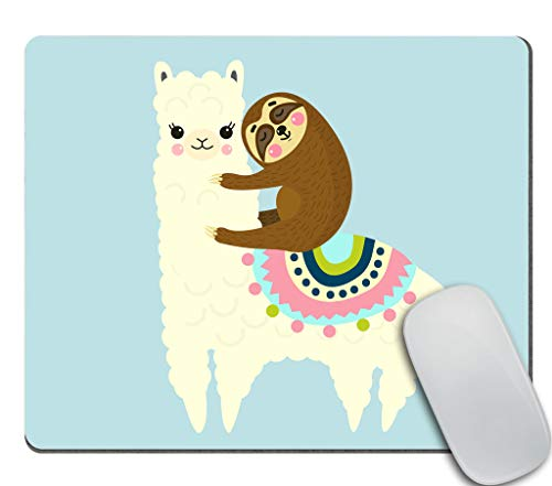 Amcove Gaming Mouse Pad Custom, Cute Fluffy Cartoon Llama and Sloth Customized Rectangle Non-Slip Rubber Mousepad Gaming Mouse Pad