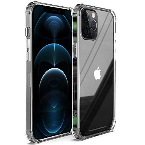 Migeec Compatible con iPhone 12 Pro MAX Estuche rígido para PC + Marco de TPU Suave [Amortiguador] Estuche para teléfono para iPhone 12 Pro MAX - Transparente