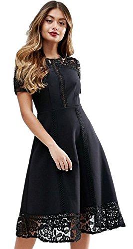 (エイソス)ASOS プレミアムレース ミディドレス ブラック ASOS Premium Lace Insert Midi Dress Black (UK ...