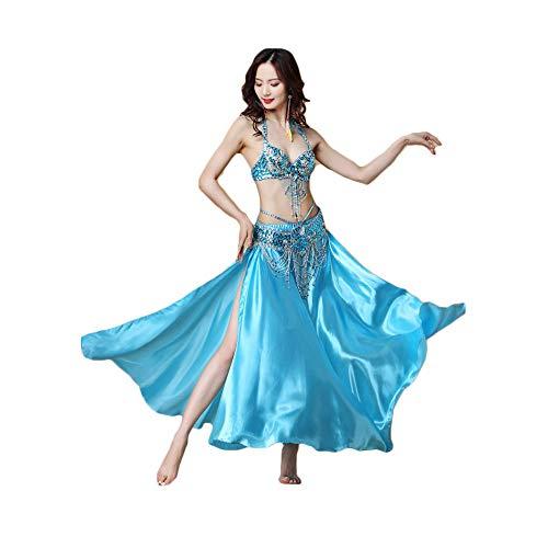 FHKL Belly Dance Costume High-End Oriental Dance Performance Kostüm Indian Dance Wear Sexy Performance Kleid Blink BH Top Party Dreiteiliges Set: BH/Taillenkette/Rock,Blue-34/75B
