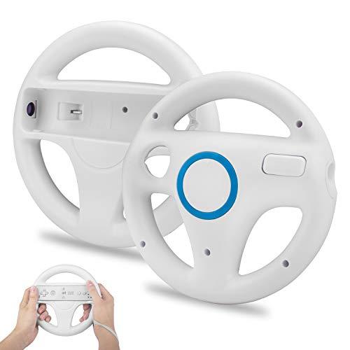 2 Stücke Wii Mario Lenkräder Wheel Controller,TechKen Wii Mario Kart Lenkrad Racing Wheel für Wii U Racing Spiele Weiß MEHRWEG