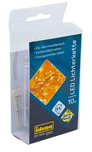 Idena 8582065 - LED Lichterkette mit 10 LED in warm weiß, mit 6 Stunden Timer Funktion, Batterie betrieben, für Partys, Weihnachten, Deko, Hochzeit, als Stimmungslicht, ca. 1 m
