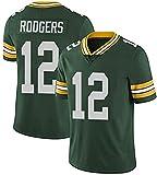 VEHJ Green Bay Packers 12 Aaron Rodgers Maillot de rugby Blanc Vert Football américain - Vert - XXL