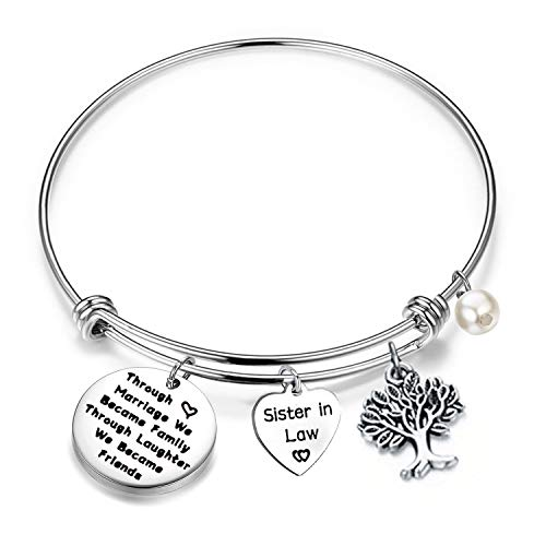 LQRI Sister in Law Bracelet Through Marriage We Became Family Quote Bangle Bracelet Gift for Sister in Law (Silver)