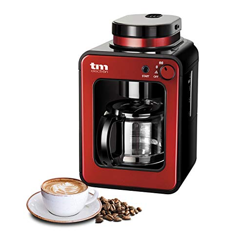 TM Electron TMPCF020R Mini cafetera de Goteo con Molinillo Grano, 4 Tazas, 600W y Filtro Lavable Compatible con café molido, 600 W, 6 Cups, Acero Inoxidable, Rojo