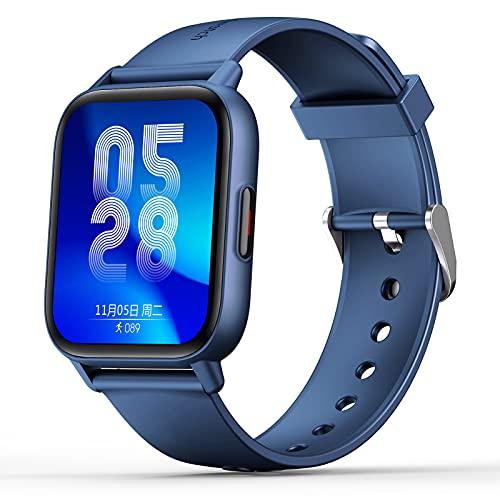 Fitness Tracker Lichaamstemperatuurhorloge met hartslag Bloedzuurstof Bloeddrukmeter, stappenteller Smartwatch met slaapmonitor, stappenteller voor kinderen Dames Heren,Blue