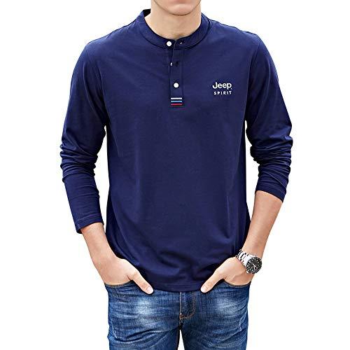 HOSD Camiseta holgada de manga larga de algodón con cuello en V para hombre
