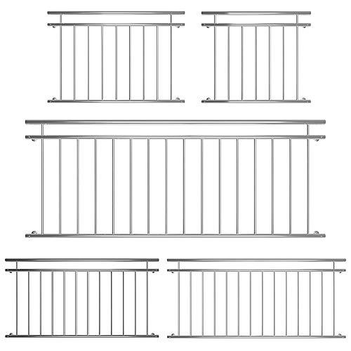 Melko Edelstahl Balkongeländer französischer Balkon 90x184 cm Terrassengeländer V2A Fenstergeländer außen
