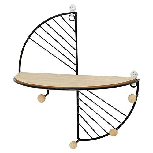 Teckey Schwebendes Wandregal, dekoratives Holz & Metall, Wandmontage, halbrund, industriell, modern, mit Eisen und Holz