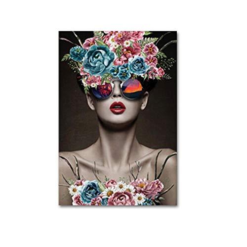 LKJHGU Creativo Fashion Model Fiore Capelli Donne Trucco Stampe Dipinti su Tela Poster Immagini di Arte della Parete per Salone di Bellezza Decorazione Domestica 40 * 50 cm